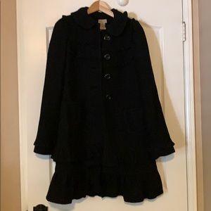 Ruffle pea coat